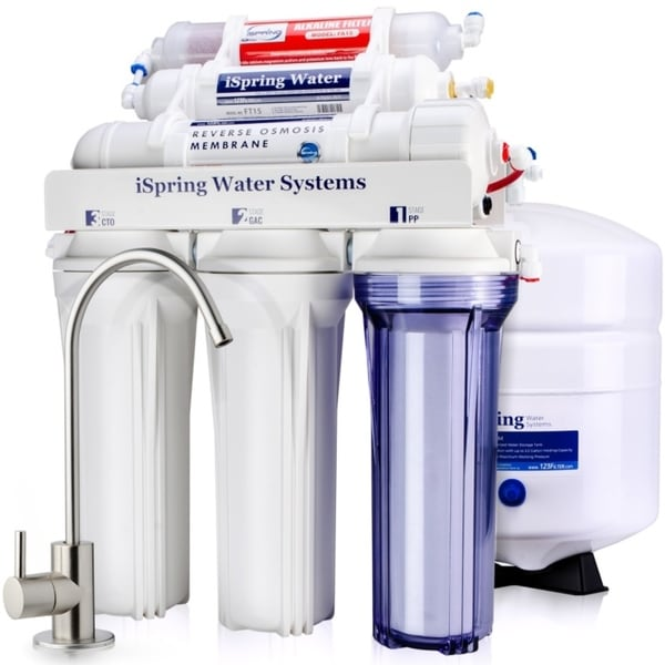 08f648fe4 iSpring RCC7AK High Capacity Under Sink 6-Stage Reverse Osmosis Drinking Water  Filtration System with