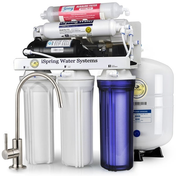 iSpring RCC7P-AK Boosted Performance Under Sink 6-Stage RO Drinking Water Filtration System with Alkaline filter and Pump