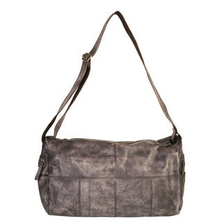 Diophy Grey Leather Side-pocket Shoulder Handbag