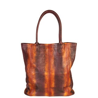 Diophy Genuine Leather Vintage-dye Stripes Shopping Handbag