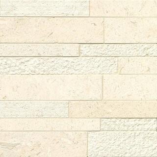 Bedrosians Corinthian White Stone Random Linear Mosaic Tiles (Pack of 10 Sheets)