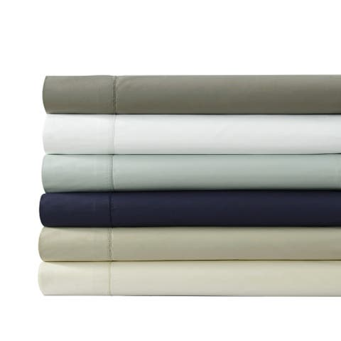 500 Thread Count Cotton Percale Extra-deep Pocket Sheet Set with Oversized Flat