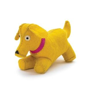 Hip Vintage Yellow Fabric Puppy Door Stopper