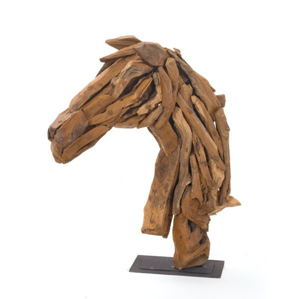 Natural Driftwood Horse Head Figurine on Iron Stand