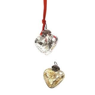 Hip Vintage Antique Gold/Silver Textured Heart Ornaments (Pack of 9)