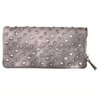 Diophy Studded Leather Clutch