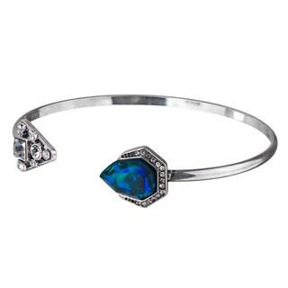 Brass Blue-Green Crystal Bangle Bracelet