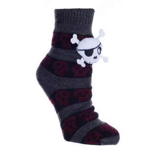 MINXNY Kids' White Skull Non-skid Slipper Sock