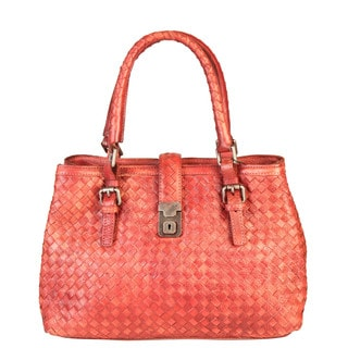 Diophy Red Genuine Leather Quilted Triple Compartments Tote Handbag