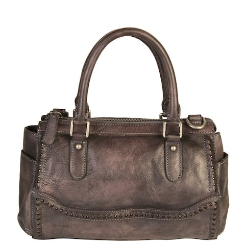 Diophy Grey Leather Double Handles Handbag