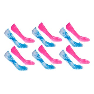 MinxNY Women's Pink and Blue Nylon, Polyester and Spandex Tie-dye Peds (Pack of 12 Pairs)