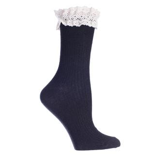 MinxNY Black Lace Top Anklet Socks