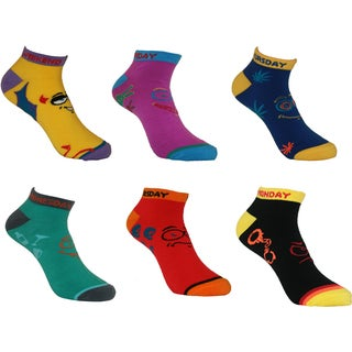 MINXNY Multi-color Acrylic, Spandex Days of the Week No-show Anklet Socks (Set of 6 Pairs)