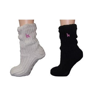 MinxNY Black Polyester and Spandex Slouchy Chenille Socks (Set of 2 Pairs)