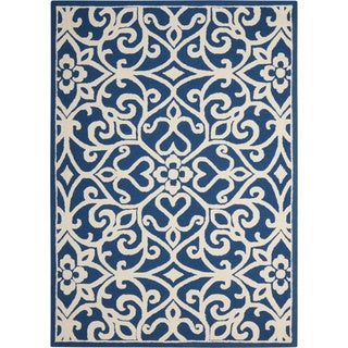 Nourison Linear Navy/Ivory Rug (5' x 7')
