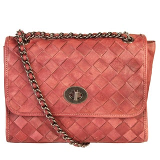 Diophy Genuine Quilted Leather Crossbody Handbag With Metal Chain