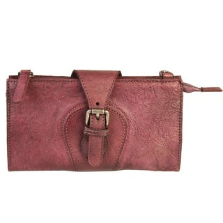 Diophy Vintage-dyed Leather Zipper Wallet