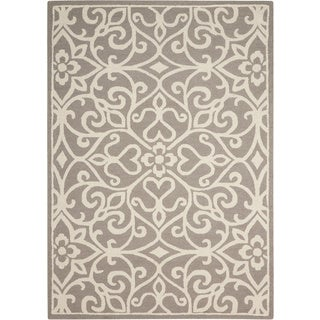 Nourison Linear Silver/Ivory Rug (3'9 x 5'9)