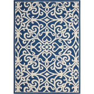Nourison Linear Navy/Ivory Rug (3'9 x 5'9)