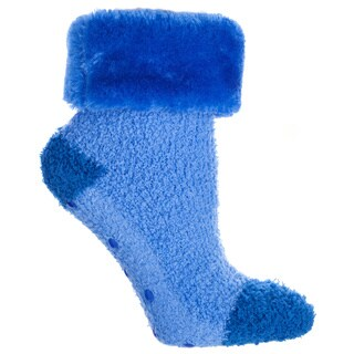 MinxNY Women's Blue Polyester and Spandex Lavender Infused Chenille Socks with Fuzzy Fur Cuff