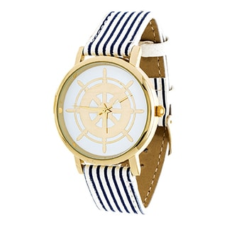 Xtreme NYC Women's Gold Case/Wheel Design Print Dial with Blue Stripes Leather Strap Watch
