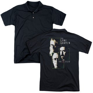 X Files/Lone Gunmen (Back Print) Mens Regular Fit Polo in Black