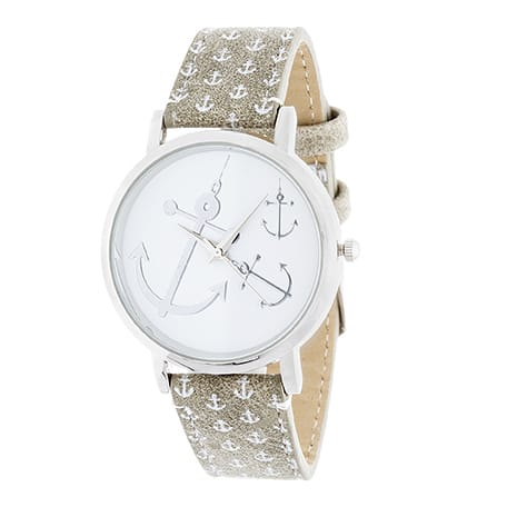 Xtreme NYC Women's Silver Case/Anchor Design Print Dial with Grey Leather Strap Watch