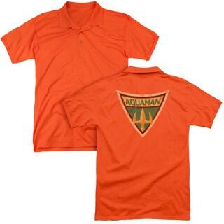 Batman Bb/Aquaman Shield (Back Print) Mens Regular Fit Polo in Orange