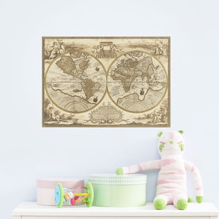 Home Source Classic World Map 22-inch x 31-inch Removable Wall Graphic