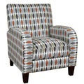Porter Shaka Cream Rust Granite Taupe and Gold Woven Geometric Pushback Accent Chair