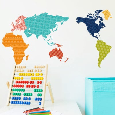 HomeSource Patterned World Removable Wall Decal