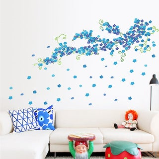 Multicolored Vinyl Blue Flowering Wall 24-inch x 36-inch Removable Wall Graphic