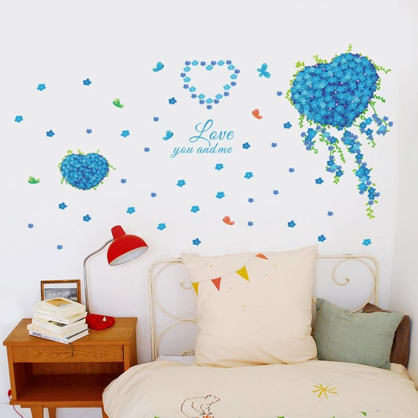 Multi-color Vinyl Blue Flowering Heart and Words 24-inch x 36-inch Removable Wall Graphic