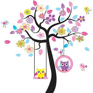 'Tree of Owl Swings' 24-inch x 36-inch Removable Wall Graphic