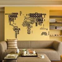 Black Vinyl Text of the World 24-inch x 36-inch Removable Wall Graphic