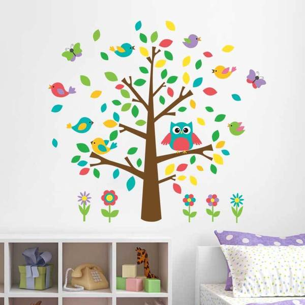 HomeSource 'Tree Full of Life and Flowers' 24-inch x 36-inch Removable Wall Decal