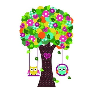 Multicolored Vinyl 'Full Round Tree and Swing' 24-inch x 36-inch Removable Wall Graphic
