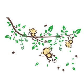 'Branch Full of Swinging Monkeys' 24-inch x 36-inch Removable Wall Graphic