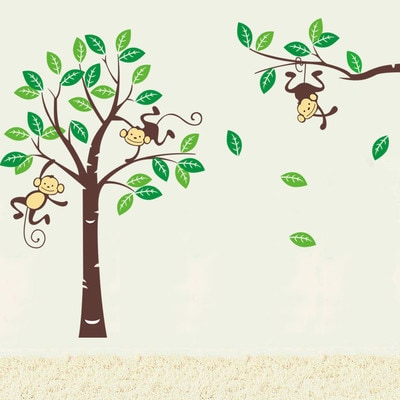 Home Source Monkey Tree 24-inch x 36-inch Removable Wall Graphic