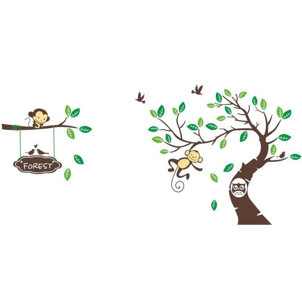 'Forest Banner of Monkeys' 24-inch x 36-inch Removable Wall Graphic