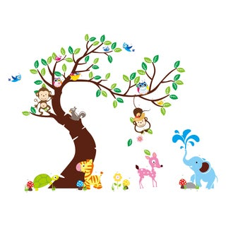 Home Source 'Curved Tree with Forest Friends and Monkeys' Multicolored 24-inch x 36-inch Removable Wall Graphic