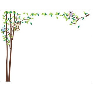 Home Source 'Tall Trees for Owls and Leaves' Multicolored 24-inch x 36-inch Removable Wall Graphic