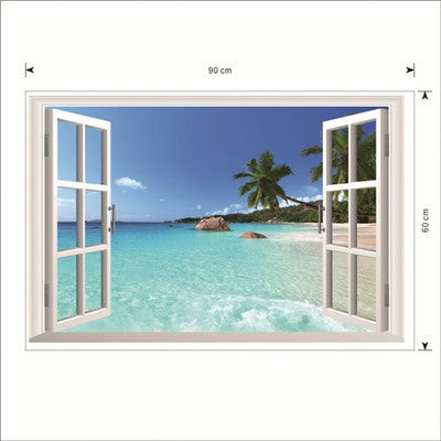 'Window to the Beach' 24-inch x 36-inch Removable Wall Graphic