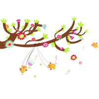 HomeSource Swinging From the Tree Multicolor 24-inch x 36-inch Removable Wall Graphic