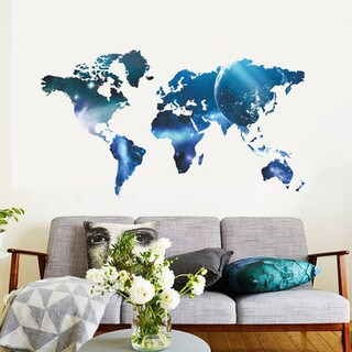 Blue World Map 22-inch x 39-inch Removable Wall Graphic