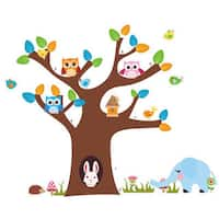 HomeSource Whoo is at the Tree Multicolor Wall Decal