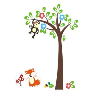 Multicolored Vinyl Monkey Tree Fox 40-inch x 60-inch Removable Wall Decal