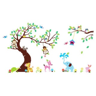HomeSource Forest Friends Multicolor Wall Decal