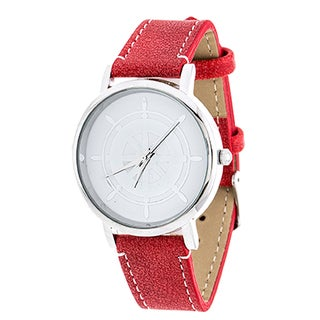 Xtreme NYC Women's Silvertone Case/Wheel Design Print Dial with Red Leather Strap Watch