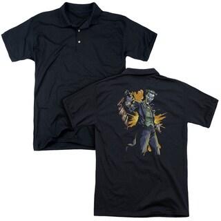 Batman/Joker Bang (Back Print) Mens Regular Fit Polo in Black